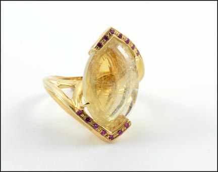 Quartz and Multi Ruby Ring in 14K Yellow Gold