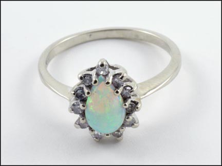 Opal and Multi Diamond Ring in 14K White Gold
