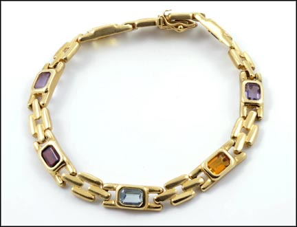 Multi Real Stone Link Bracelet in 14K Yellow Gold LARGE