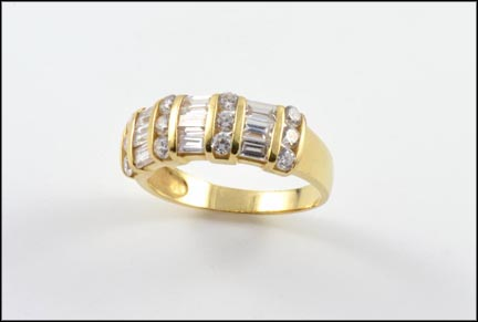 Multi Cubic Zirconia Baguettes and Rounds Band in 14K Yellow Gold