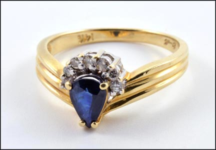 Sapphire and Multi Diamond Ring in 14K Yellow Gold