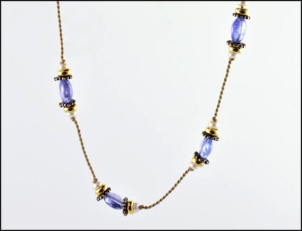 Iolite Bead and Multi Pearl Necklace in 14K Yellow Gold