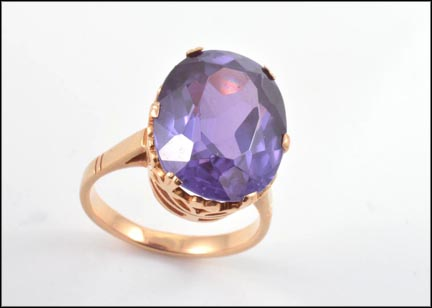 Synthetic Purple Ring in 14K Yellow Gold