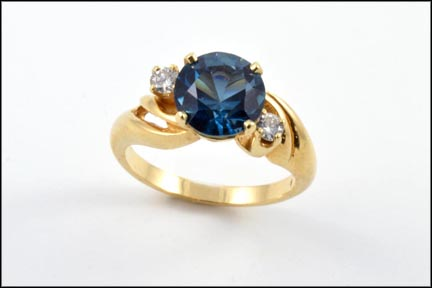 Synthetic Blue and Diamond Ring in 14K Yellow Gold