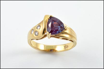 Synthetic Purple Stone and Diamond Ring in 14K Yellow Gold