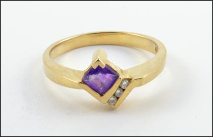 Amethyst and Diamond Ring in 14K Yellow Gold LARGE