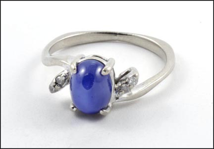 Synthetic Blue Star Ring in White Gold