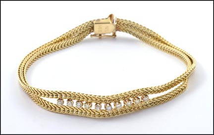 Multi Diamond Double Chain Bracelet  in 14K Yellow Gold LARGE