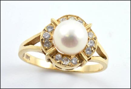 Pearl Ringed In Diamonds in 14K Yellow Gold