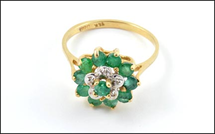 Multi Emerald and Diamond Ring in 14K Yellow Gold
