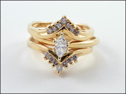 Marquise Cut Ring with Multi Diamond Jacket in 14K Yellow Gold LARGE