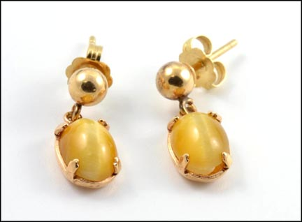 Yellow Tiger Eye Dangle Post Earrings in Yellow Gold
