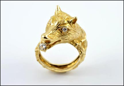 Wolf Head with Diamond In Mouth Ring in 14K Yellow Gold