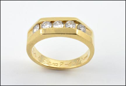 Five Diamond Band in 14K Yellow Gold