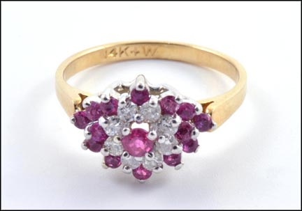 Ruby and Diamond Ring in 14K Yellow Gold LARGE
