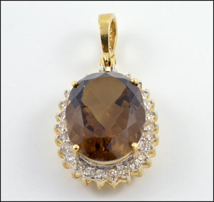 Smoky Quartz Diamond Surround Pendant in 14K Yellow Gold