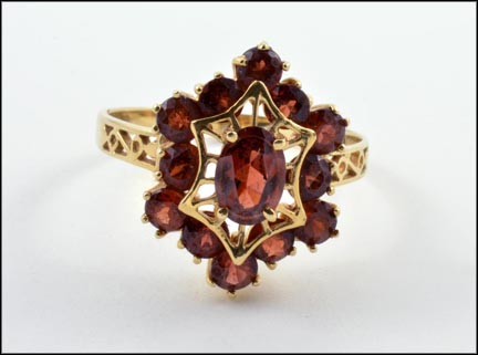 Multi Garnet Hexagon Shape Ring in 14K Yellow Gold