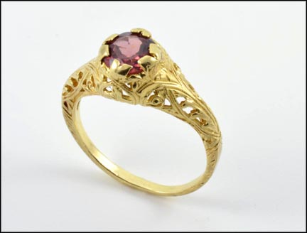 Garnet Filigree Ring in 10K Yellow Gold