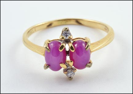 Synthetic Purple Star Ring Two Diamond in 14K Yellow Gold