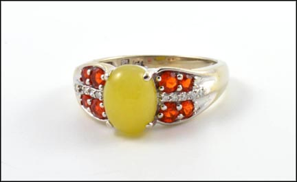 Yellow Jade and Multi Fire Opal Ring in 14K White Gold