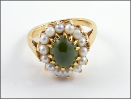 Jade Ringed with Pearls Ring in Yellow Gold
