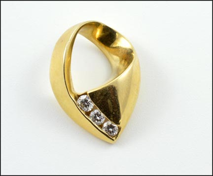 Three Diamond Slide in 14K Yellow Gold