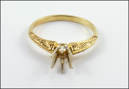 1935-45 Loose Setting Ring in 14K Yellow Gold