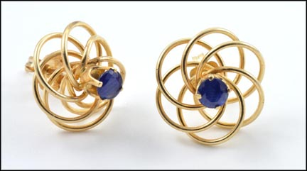 Sapphire In Swirl Wire Post Earrings in 14K Yellow Gold