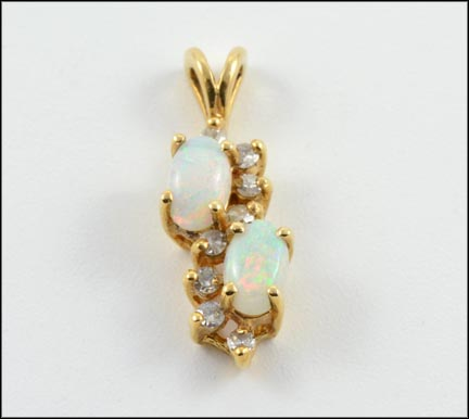 Opals with Diamond Accents Pendant in Yellow Gold