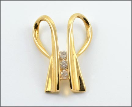 Double Loop and Diamond Necklace Slide in 14K Yellow Gold