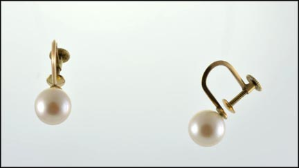 Single Pearl Screwback Earrings in 14K Yellow Gold