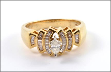 Diamond Ring with Diamond Baguettes in 14K Yellow Gold