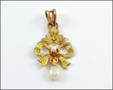 Small Pearl On Ribbon with Pearl Drop Pendant in Yellow Gold
