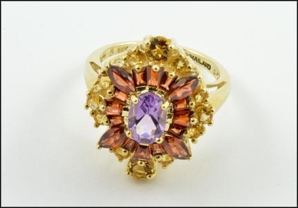 Amethyst, Garnet and Citrine Cocktail Ring in 10K Yellow Gold