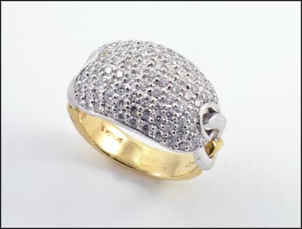Sonia B Pave' Diamond Ring in 14K Yellow and White Gold