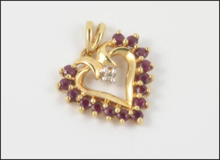 Ruby Heart Pendant with Diamond in 10K Yellow Gold