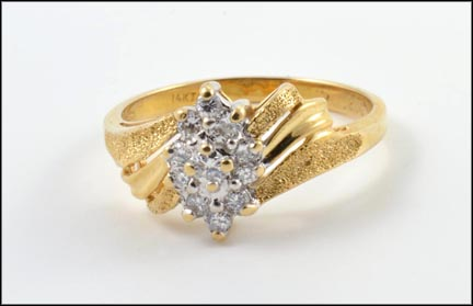 Diamond Ring Small Cluster in 14K Yellow Gold