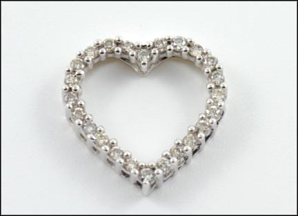 Diamond Heart Slide in 10K White Gold