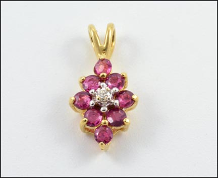 Ruby with Diamond Pendant in 14K Yellow Gold