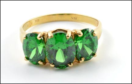 Three Stone Green Quartz Ring in 10K Yellow Gold