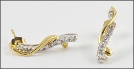 Diamond Drop Earrings in 14K Yellow and White Gold