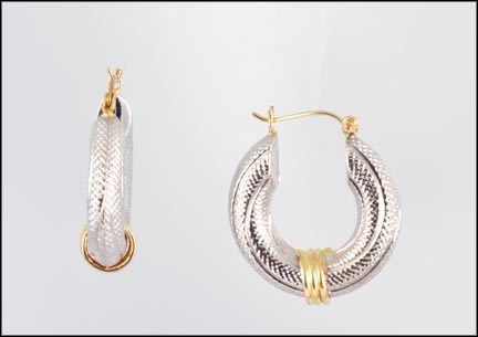 Large Hoop Pierced Earrings in 14K White and Yellow Gold