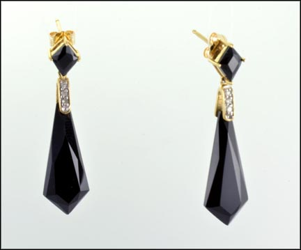 Onyx Drop with Diamond Accent Post Earrings in 10K Yellow Gold