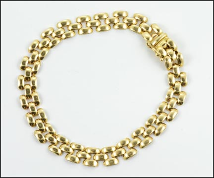 Three Rows Of Bars Link Bracelet in 14K Yellow Gold LARGE