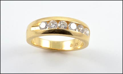 Channel Set Diamond Band in 14K Yellow Gold
