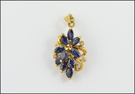 Multi Iolite with Diamond Accent Pendant in 14K Yellow Gold