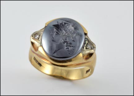 Hematite Diamond Accented Intaglio Ring in 10K Yellow Gold LARGE