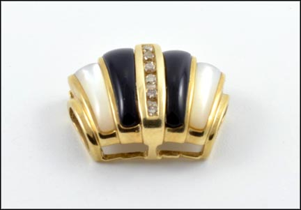 Onyx, Mother Of Pearl and Diamond Pendant Slide in 10K Yellow Gold