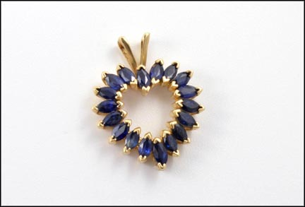 Marquise Cut Sapphires Open Heart Pendant in Yellow Gold