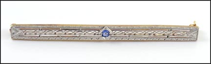 1925 Light Blue Sapphire Bar Pin in 14K Yellow and White Gold